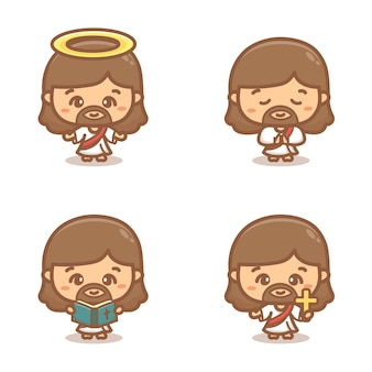 Jesus christ clipart set. praying, holy, and holding a cross. cartoon vector illustration