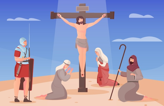 Jesus christ crucified on cross and people on their knees around him flat illustration