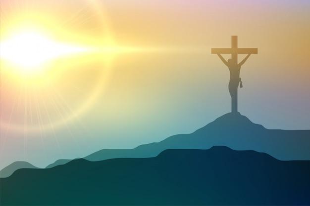 좋은 금요일 이벤트 디자인을위한 예수 그리스도의 십자가 장면
