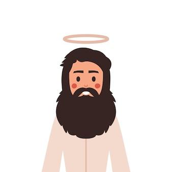 Иисус христос в милом мультяшном стиле.