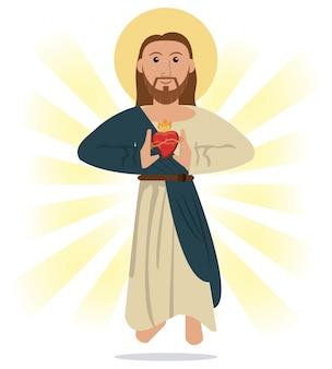 Иисус христос священный сердечный религиозный символ
