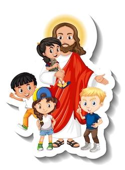 Иисус христос с наклейкой группы детей на белом фоне