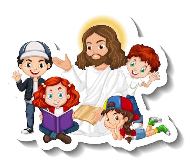 Jesus christ with children group sticker on white background