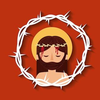 Иисус христос с короной шипы священный образ