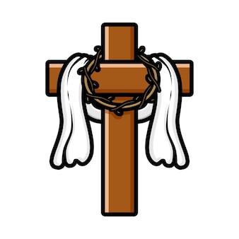 가시 면류관을 들고 십자가에 달리 신 예수