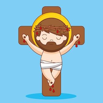 예수님은 십자가에 못 박히시고 가시, 만화 일러스트로 왕관을 쓰셨습니다. 프리미엄 벡터