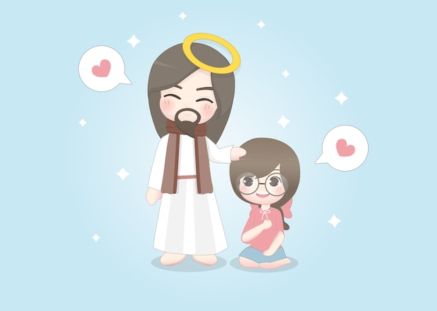 Jesus and cute girl happily talk to each other.