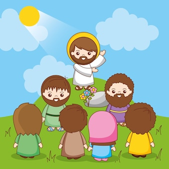 Jesus between people on mountain. the announcement of the kingdom of heaven inviting conversion, cartoon illustration