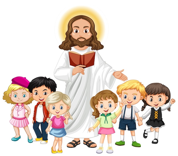 Jesus preaching to a children group cartoon character