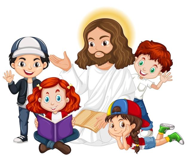 Gesù che predica a un personaggio dei cartoni animati di un gruppo di bambini