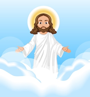 空に立った姿勢の文字で説教するイエス
