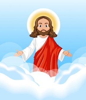 Jesus preaching in standing position character on sky