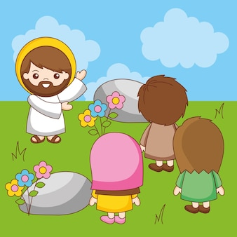 山で福音を説教するイエス、漫画イラスト