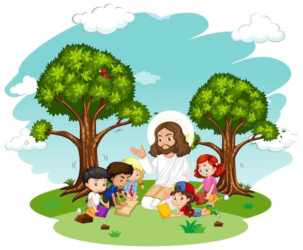 어린이 그룹 만화 캐릭터에게 설교하는 예수
