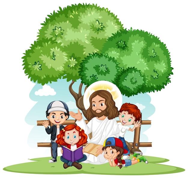Иисус проповедует мультипликационный персонаж группы детей