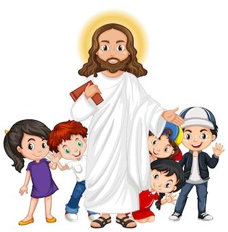 Иисус с мультипликационным персонажем группы детей