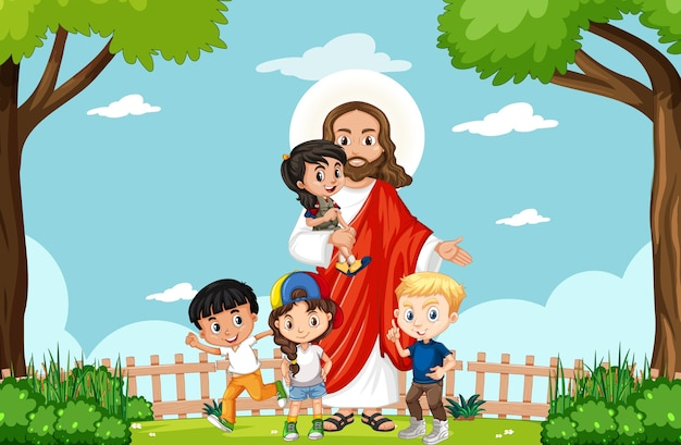公園で子供たちとイエス