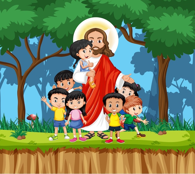 Jesus with children in the park