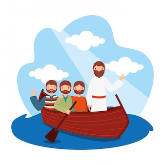 Jesus with his disciples in the boat.