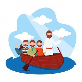 Иисус со своими учениками в лодке.