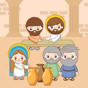 Jesus with holy mary between people. self-revelation at the wedding of canaan, cartoon illustration