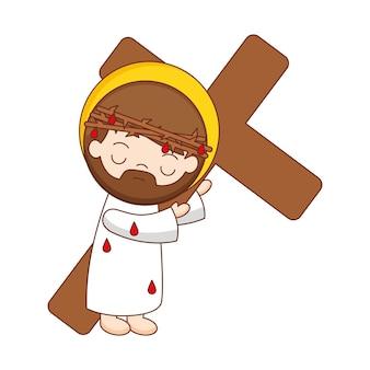 흰색 배경 위에 절연 십자가 만화와 예수. 벡터 일러스트 레이 션