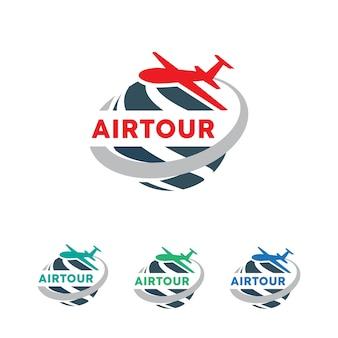 旅行会社、ツアー会社、航空チケット代理店のための地球シンボルとジェット機。