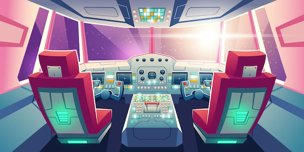 Jet cockpit empty airplane cabin interior illustration