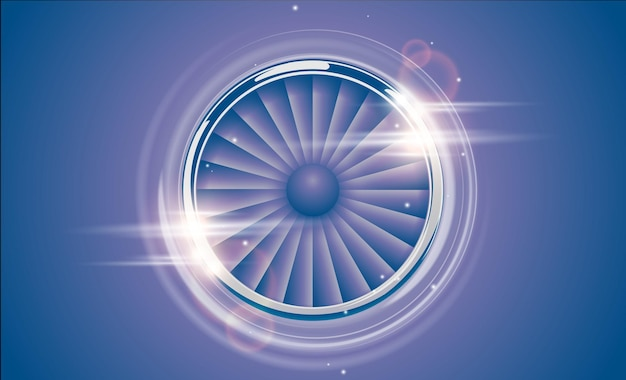 렌즈 플레어 조명 효과가 있는 복고풍 바이올렛 블루 색상 스타일의 제트 엔진 터빈 크롬 링. 자세한 비행기 모터 전면 보기입니다. 비행기, 기계 전원 아이콘 기호의 벡터 항공기 터보 팬.