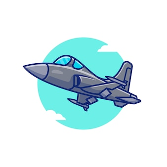 Jet fighter airplane cartoon icon illustration. air transportation icon concept isolated premium . flat cartoon style