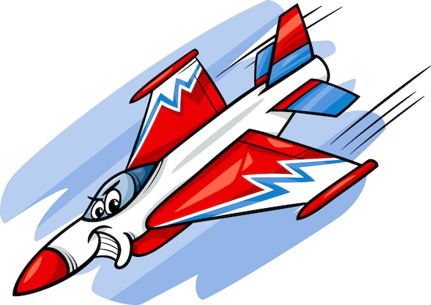 Иллюстрация мультфильма самолет-истребитель