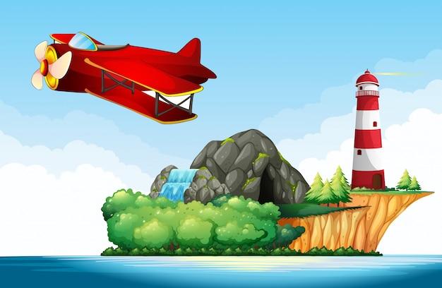 海上を飛行するジェット機