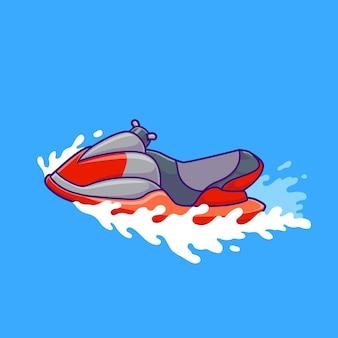 Jet ski boat cartoon vector icon illustration. transportation object icon concept isolated premium vector. flat cartoon style