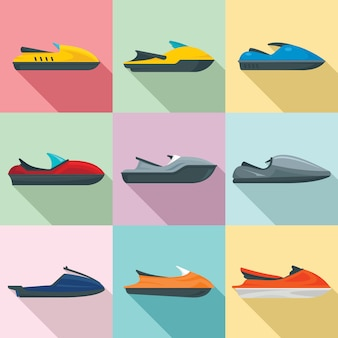 Jet ski icons set, flat style