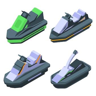 Jet ski icons set, isometric style