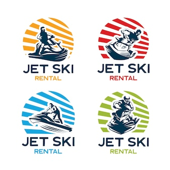 Jet ski logo design template set
