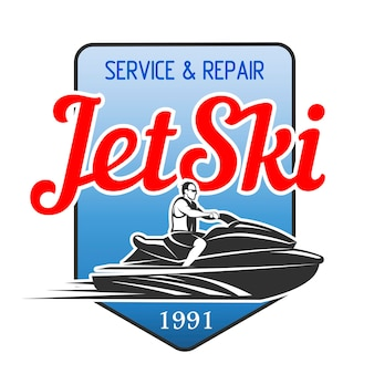 Jet ski service and repair logo isolated on white background.