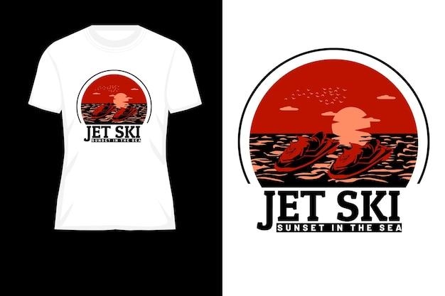 海のシルエットのレトロなtシャツのデザインでジェットスキーの夕日