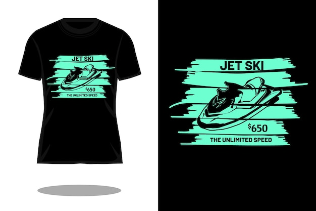Jet ski the unlimited silhouette retro t shirt design