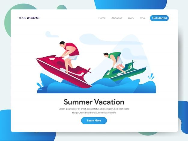 Летние каникулы с баннером jet ski water sport для целевой страницы