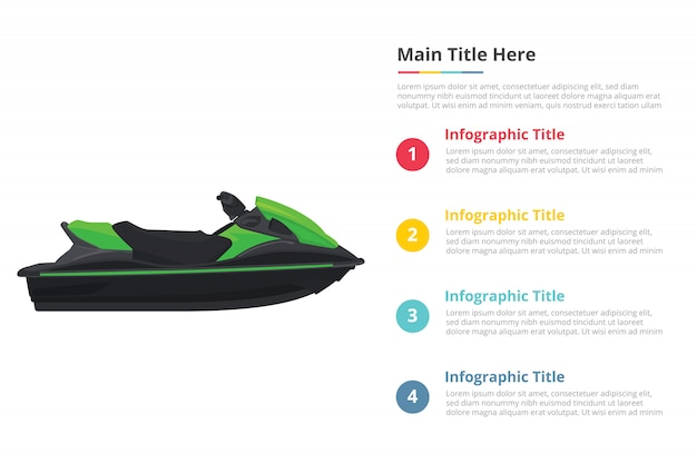 Jetski sport transportation infographics template with four points