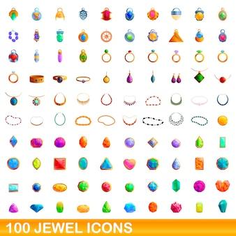 宝石アイコンを設定します。白い背景に設定された宝石アイコンの漫画イラスト