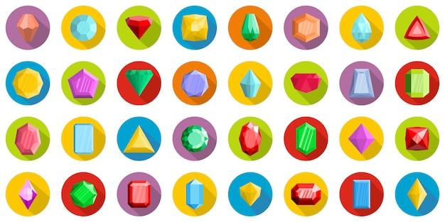 Jewel icons set, flat style