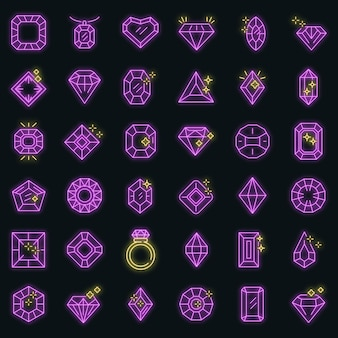 Jewel icons set. outline set of jewel vector icons neoncolor on black