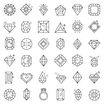 Jewel icons set, outline style