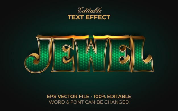 Jewel text effect style. editable text effect gold emerald theme.