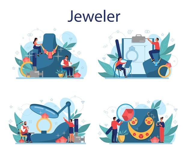 보석상 및 보석 개념. 창의적인 사람과 직업에 대한 아이디어. 직장에서면 처리 된 다이아몬드를 검사하는 보석상. 보석으로 일하는 사람.
