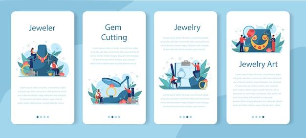 보석상 및 보석 모바일 응용 프로그램 배너 세트. 창의적인 사람과 직업에 대한 아이디어. 직장에서면 처리 된 다이아몬드를 검사하는 보석상. 보석으로 일하는 사람.