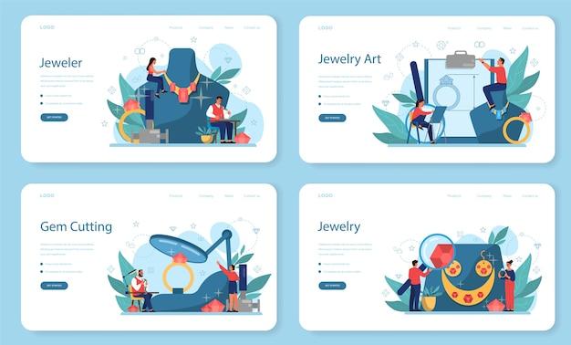 보석상 및 보석 웹 배너 또는 방문 페이지 세트. 창의적인 아이디어