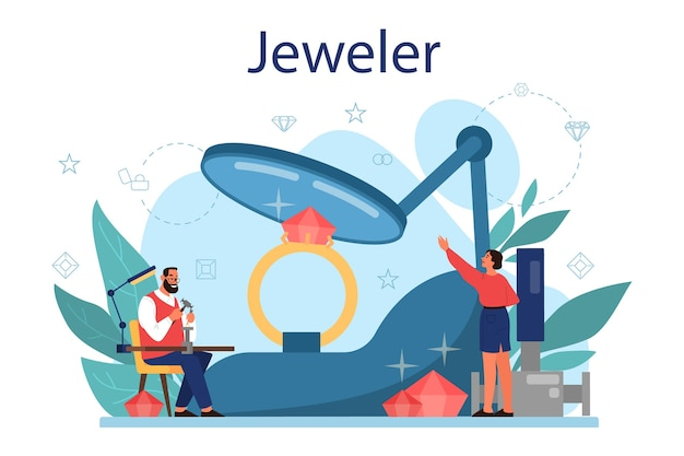 Jeweler concept . idea of creative people and profession.